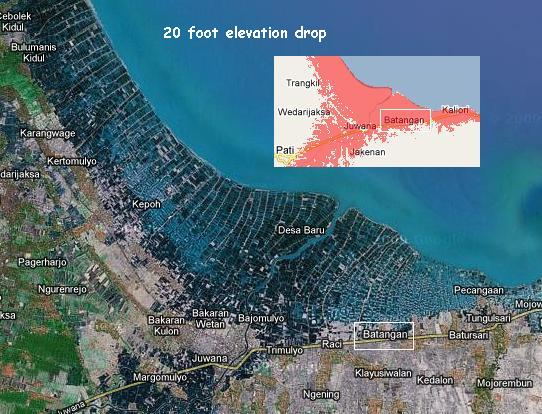 20 Foot Elevation Drop in Java Confirmed by Google Satellite